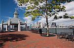 Pavilion at a harbor, Boston Harbor, East Boston, Boston, Suffolk County, Massachusetts, USA