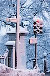Traffic Light on Beacon Street on Boston Common in winter, Boston, Massachusetts, USA