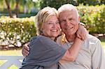 Portrait of a romantic couple in a park