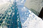 Clouds reflected in modern office buildings, Frankfurt, Germany
