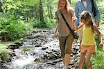 Famille marchant à côté des cours d'eau en bois