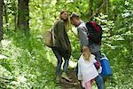 Famille de randonnée dans les bois