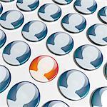 foule d'icônes 3D avec une icône unique