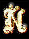 Bling alphabet N
