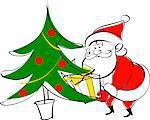 Santa Claus placing gift beneath Christmas tree