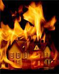 Haus in Brand (digital Composite)