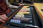 Poker chips in a casino.