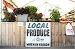 Signe de produits locaux au marché fermier