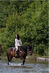 Mid adult woman on horseback crossing river, looking over shoulder