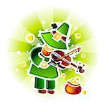 Kobold spielen Geige von Topf voll gold
