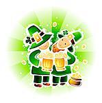 St. Patricks Day Leprechaun mit Bier und Topf voll gold