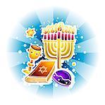 Menorah, Jewish prayer book and yarmulke