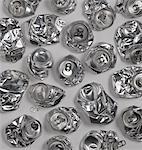 Crushed aluminium cans, studio shot