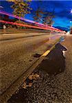 Streaking Car Lights on Road, Kopavogur, Southwest Iceland, Iceland
