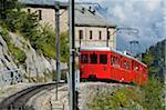 Montenvers train à crémaillère, Mer de Glace, Chamonix Mont-Blanc, France