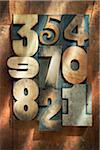 Numéros de typographie en bois