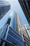 Germany, Frankfurt, skyscrapers, low angle view