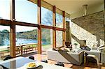 Baie vitrée dans le salon moderne