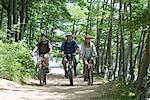 Amis d'équitation vélos côte à côte à travers bois