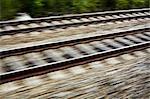 Vue brouillée de voie ferrée