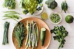 Fresh green vegetables on plate