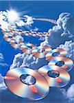 CD ROM FLOTTANT DANS LE CIEL