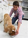 Homme nourrir son chien dans une cuisine