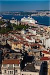 Overview of Beyoglu and Bosphorus, Istanbul, Turkey