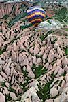 Hot Air Balloon and Rock Formations, Goreme Valley, Cappadocia, Turkey