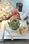 Artichoke, bread and red wine