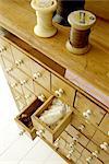 Commode avec le fil de la canette et nombreux tiroirs