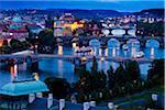 Bridges Over Vltava River at Night, Prague, Czech Republic