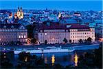 Vltava River and Prague at Night, Czech Republic