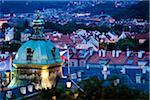 Overview of Mala Strana at Dusk, Prague, Czech Republic