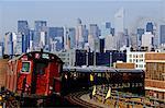 1980s MIDTOWN FLUSHING SUBWAY TRAIN QUEENS NEW YORK CITY NY USA
