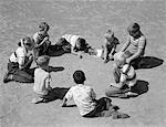 1950s BOYS & GIRLS SHOOTING MARBLES