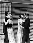 1930s 2 COUPLES MEN WOMEN DANCING WEARING  FORMAL ATTIRE