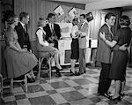 1950s - 1960s TEEN COUPLES HAVING PARTY DANCING IN REC ROOM