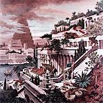 SEPT MERVEILLES DE L'ANCIENNE MONDE PEINTURE GRAVURE DE MARTIN HEEMSKERCK 600BC HANGING JARDINS DE BABYLONE TOUR DE BABEL EN ARRIÈRE-PLAN