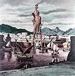 SEPT MERVEILLES DE L'ANCIEN MONDE ILLUSTRATION 292BC COLOSSE DE RHODES