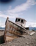 DES ANNÉES 1980, ESSAYEZ À NOUVEAU BATEAU ÉPAVE HOMER ALASKA USA