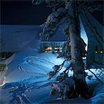 SNOW WINTER TIMBERLINE LODGE MOUNT HOOD OREGON MOUNTAIN AT NIGHT