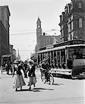 1900s - 1910s - 1912 DETROIT STREET SCENE PEDESTRIANS & STREETCAR