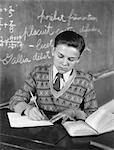 1920s - 1930s BOY VEE NECK SWEATER WRITING AT SCHOOL DESK