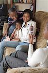 Family portrait taken on the couch, Nairobi, Kenya