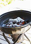 Feu au charbon de bois dans un gril de barbecue