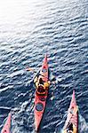 Aerial view of kayakers in water
