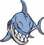 Cartoon Vector Image of a Swimming Shark