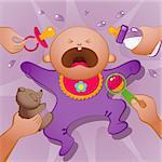 Vector illustration of crying baby. EPS 8, AI, JPEG