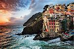 Sunset stormy light in Riomaggiore, Cinque Terre, Italy